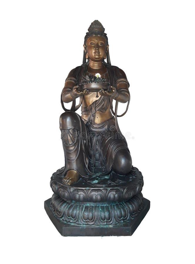 Bouddha en bronze chinois a isolé sur les milieux blancs photos stock