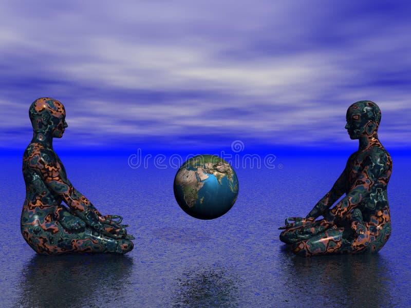Bouddha et terre illustration libre de droits