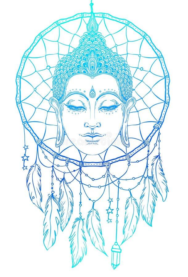 Bouddha font face au-dessus du modèle rond de dreamcatcher Vintage ésotérique VE illustration libre de droits