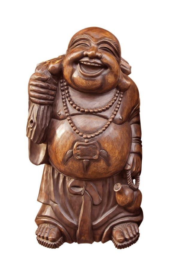 Bouddha heureux en bois image libre de droits