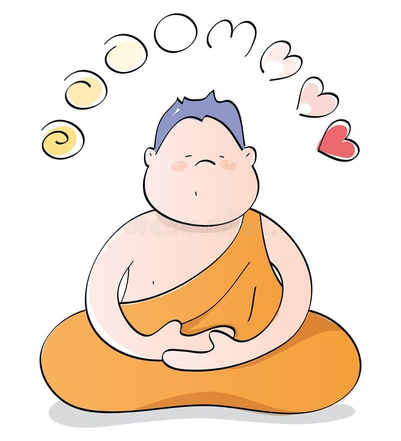 Bouddha heureux méditant illustration de vecteur