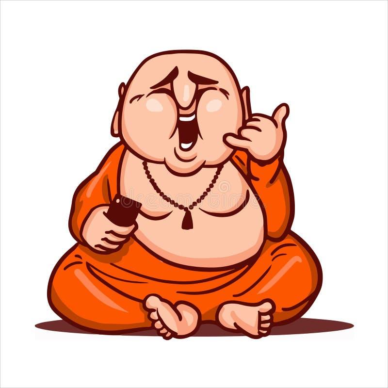 Bouddha heureux s'assied et rit, tient un smartphone dans sa main et montre qu'un geste m'appellent images stock