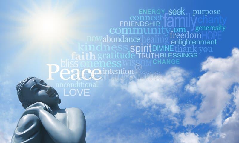 Bouddha méditant avec des mots de la sagesse image stock
