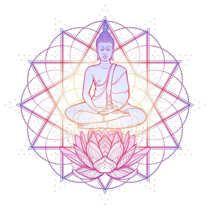 Bouddha méditant en position de lotus simple Hexagram représentant le chakra d'anahata dans le yoga sur un fond illustration de vecteur
