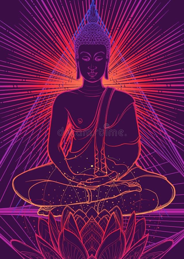 Bouddha méditant en position de lotus simple Hexagram représentant le chakra d'anahata dans le yoga sur un fond illustration libre de droits