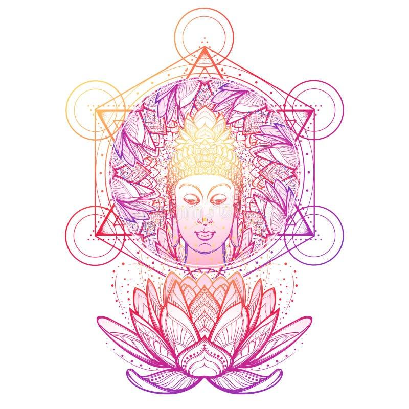 Bouddha méditant en position de lotus simple Hexagram représentant le chakra d'anahata dans le yoga sur un fond illustration stock