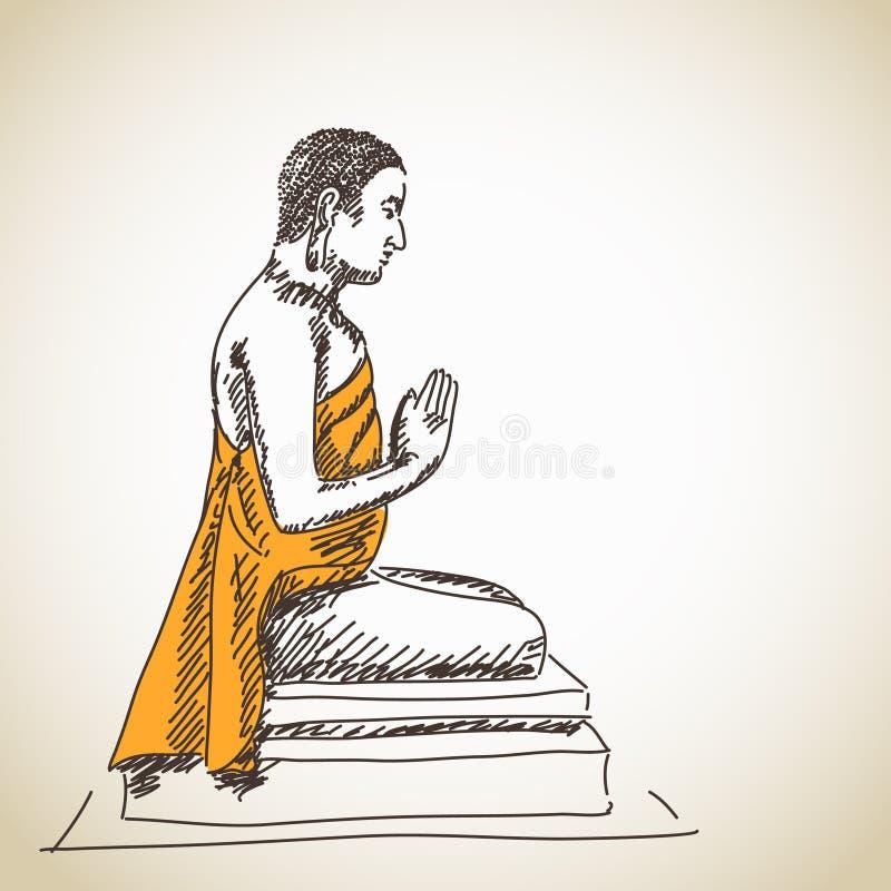 Bouddha méditant tiré par la main illustration libre de droits