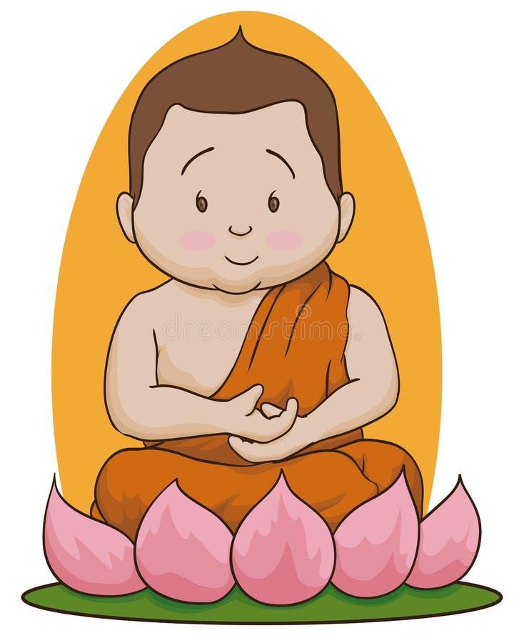 Bouddha méditatif s'asseyent au-dessus de Lotus Isolated, illustration de vecteur illustration stock