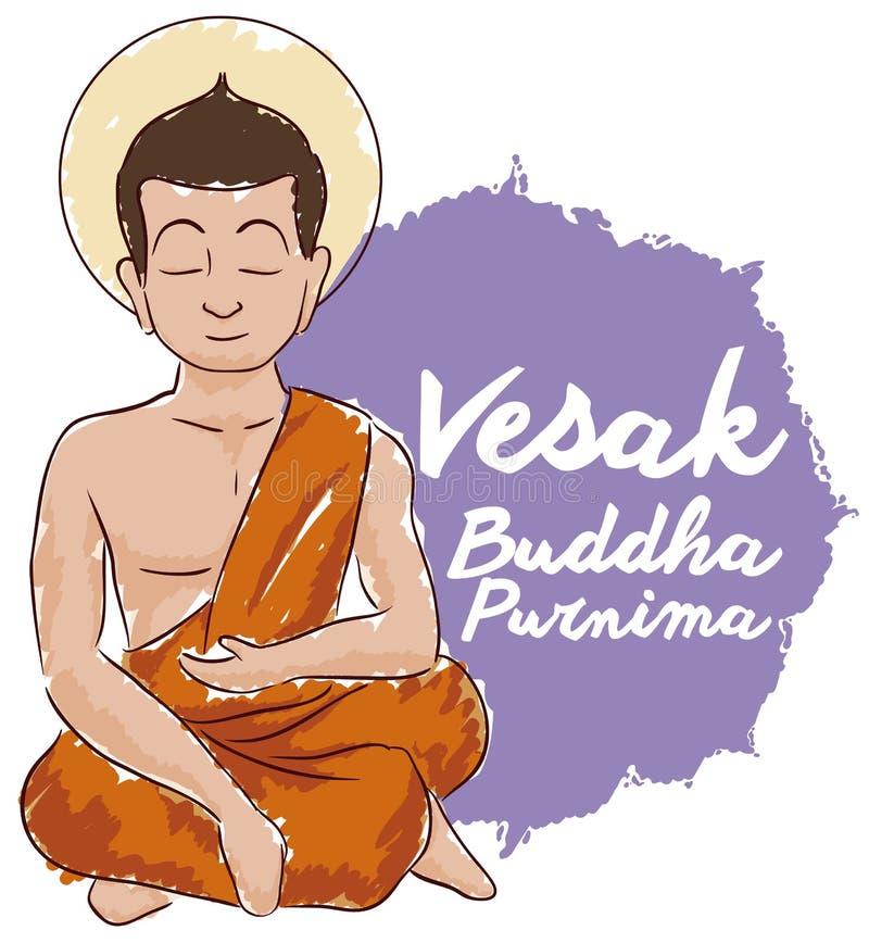 Bouddha a posé méditer dans le style Vesak de commémoration, illustration d'aquarelle de vecteur illustration stock