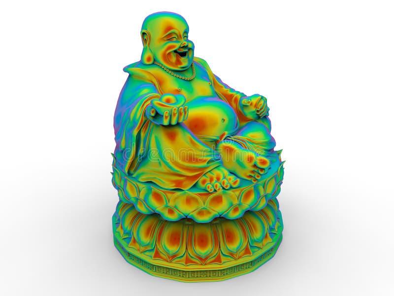 Bouddha - priant - arc-en-ciel colore le concept illustration stock
