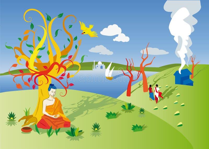 Bouddha réveillant l'arbre illustration de vecteur