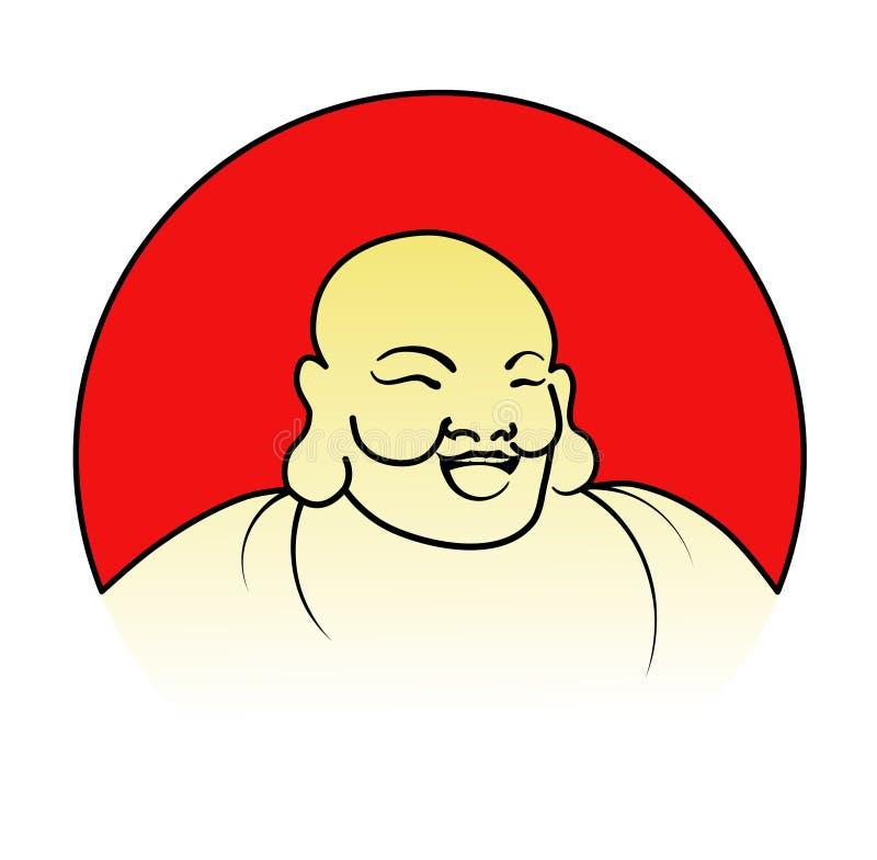 Bouddha riant avec l'image rouge de vecteur de Sun illustration de vecteur