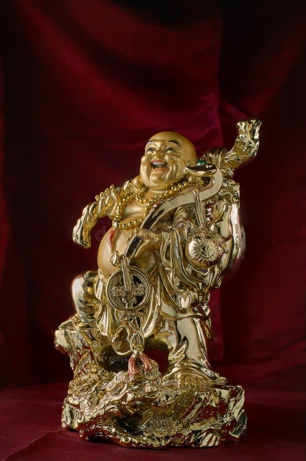 Bouddha riant d'or de shui de feng image libre de droits