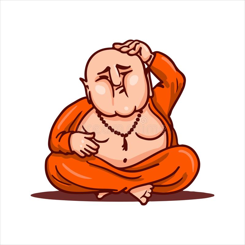 Bouddha s'asseyant dans la pose de lotus, pensant à la nouvelle idée et rayant sa tête chauve photo stock