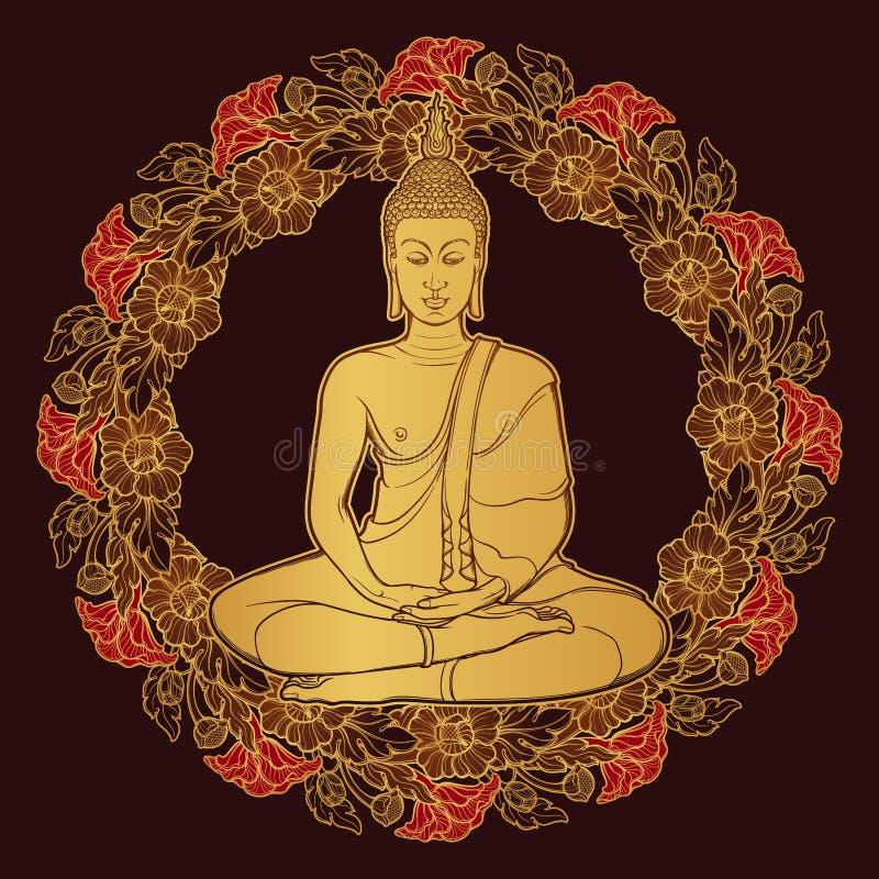 Bouddha s'asseyant et méditant en position de lotus simple Circulaire décorative Trame thaïlandaise de type Dessin linéaire d'or illustration libre de droits