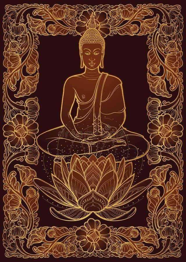 Bouddha s'asseyant sur une fleur de Lotus et méditant en position de lotus simple Cadre thaïlandais rectangulaire décoratif de st illustration stock