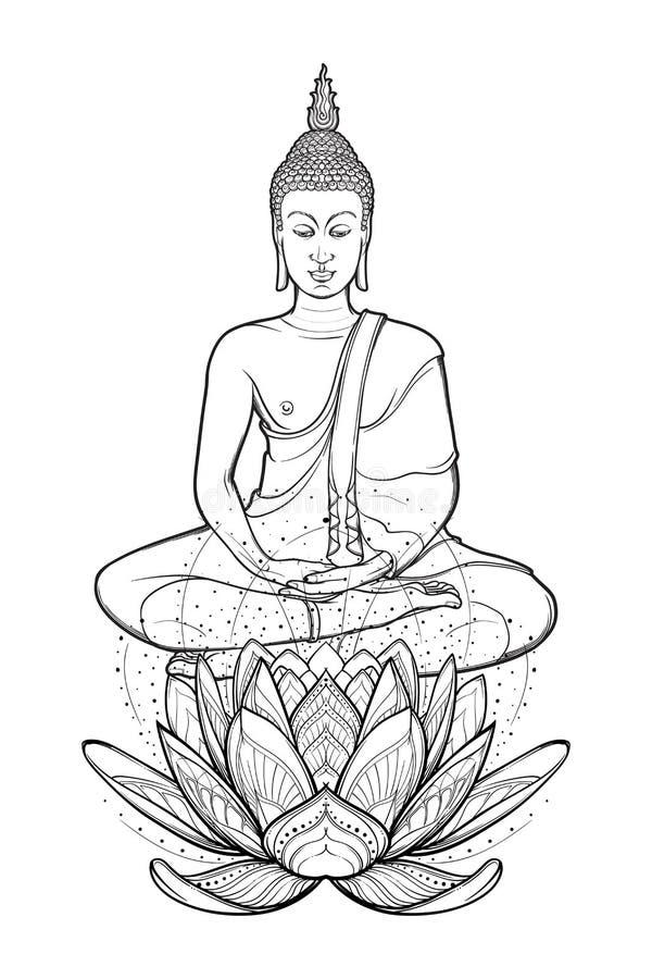 Bouddha s'asseyant sur une fleur de Lotus et méditant en position de lotus simple Dessin complexe de main d'isolement sur le blan illustration stock