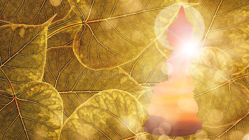 Bouddha s'asseyent sur exposition ou le silhouet de fond de boleaf d'or la double photo libre de droits