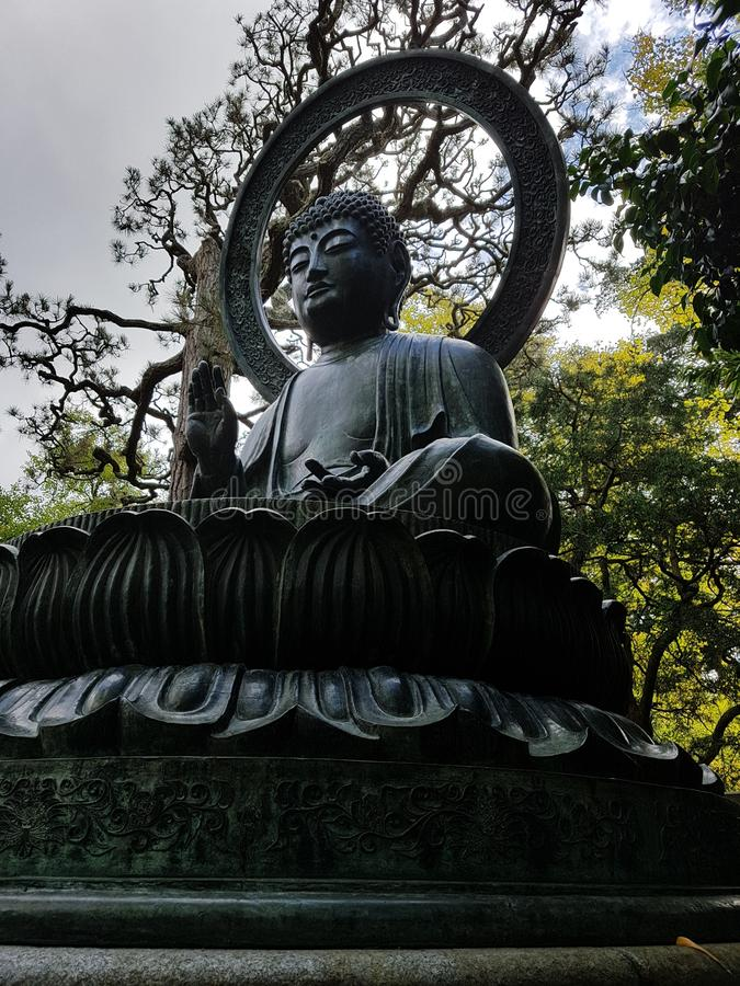 Bouddha in the japanese garden of the golden gate park, san francisco royalty free stock photo