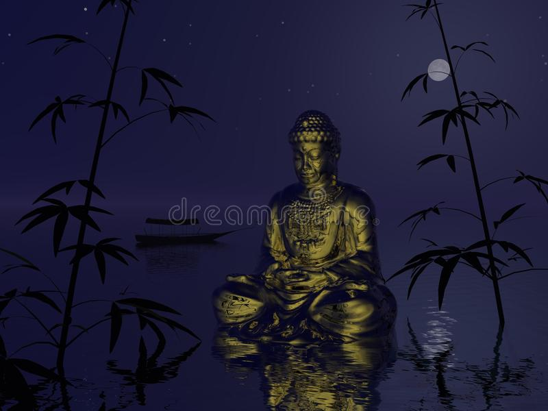 Bouddha sur l'eau - 3d rendent illustration stock