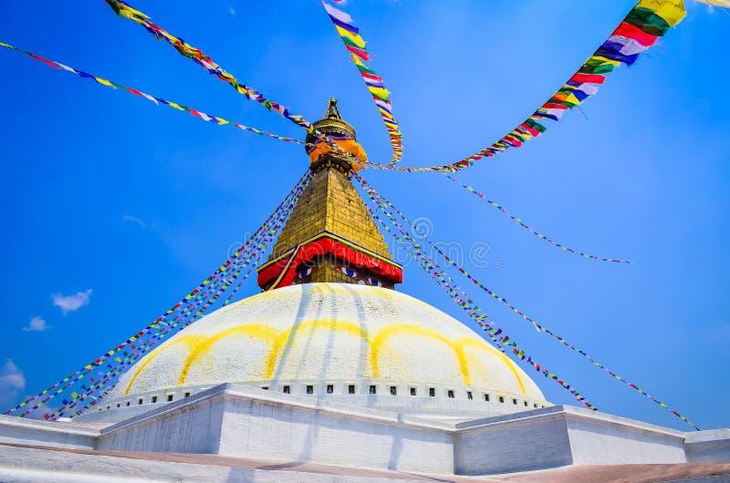 Bouddhanathstupa in de loop van de dag in Katmandu, Nepal stock fotografie