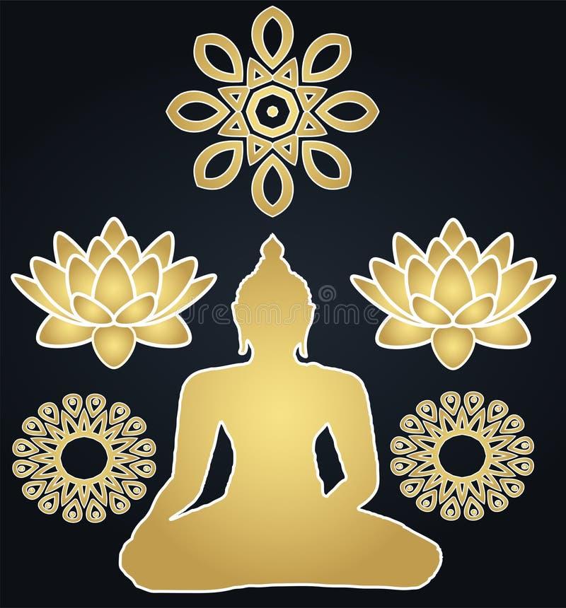 Bouddhisme d'or et silhouette Bouddha d'autocollants illustration stock