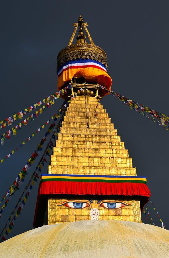 Boudhanath佛教徒stupa。加德满都,尼泊尔 免版税图库摄影