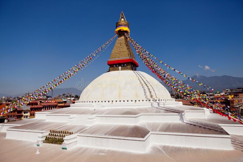 Boudhanath巨型佛教stupa在加德满都喜马拉雅山尼泊尔 免版税库存图片