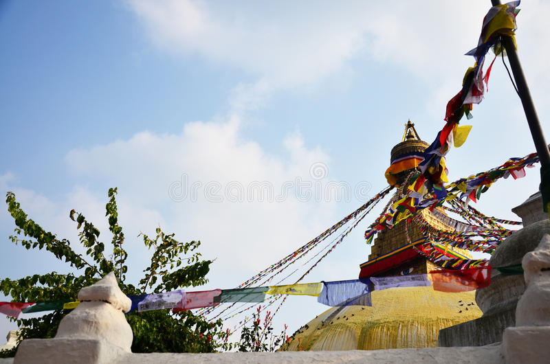 Boudhanath or Bodnath Stupa with Buddha eyes or Wisdom eyes. Is the largest stupa in Nepal and the holiest Tibetan Buddhist temple outside Tibet It is the royalty free stock photo