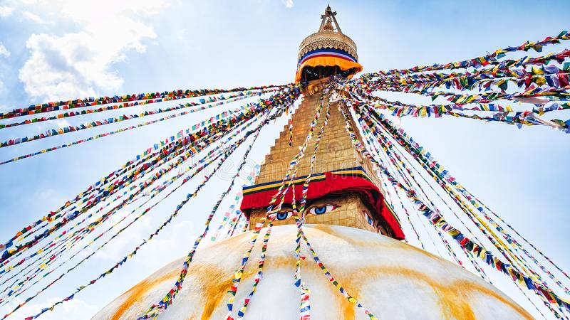 Boudhanath Stupa在加德满都谷,尼泊尔 免版税库存图片