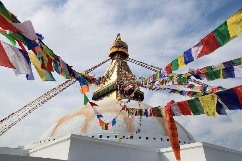 Boudhanath Stupa看法在加德满都在尼泊尔 库存照片