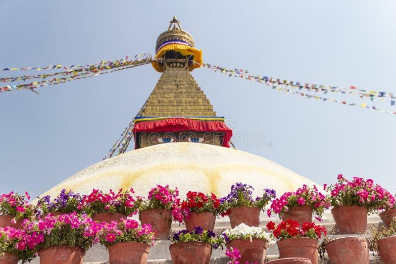 Boudhanath-stupa Ansicht, Kathmandu, Nepal stockfoto
