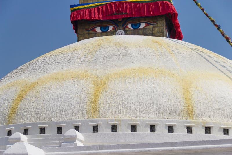 Boudhanath-stupa Ansicht, Kathmandu, Nepal stockbild
