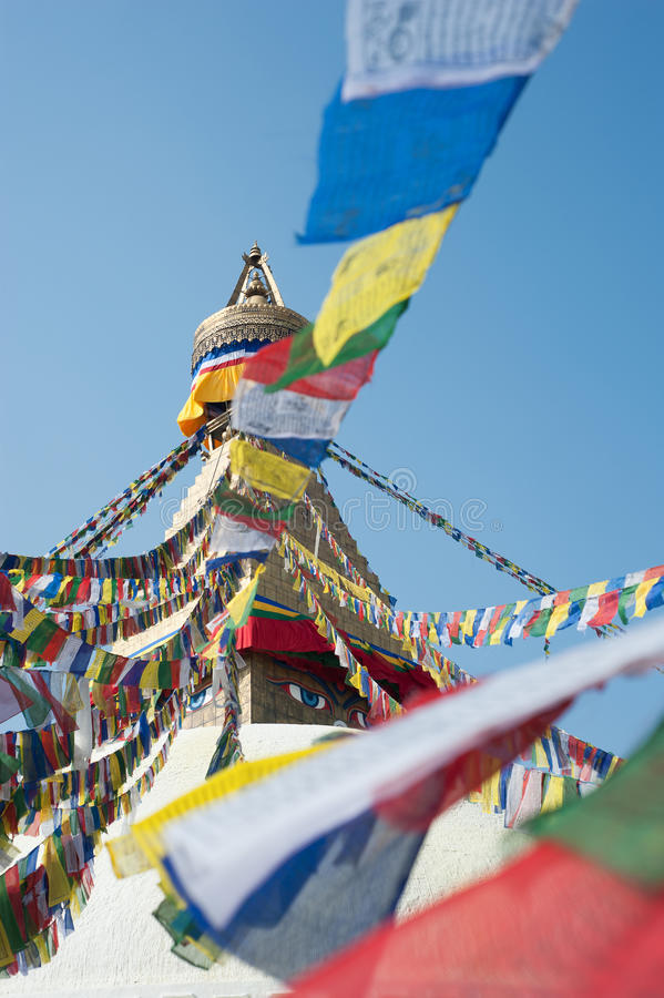 Boudhanath Stupa en vallée de Katmandou, Népal photographie stock libre de droits