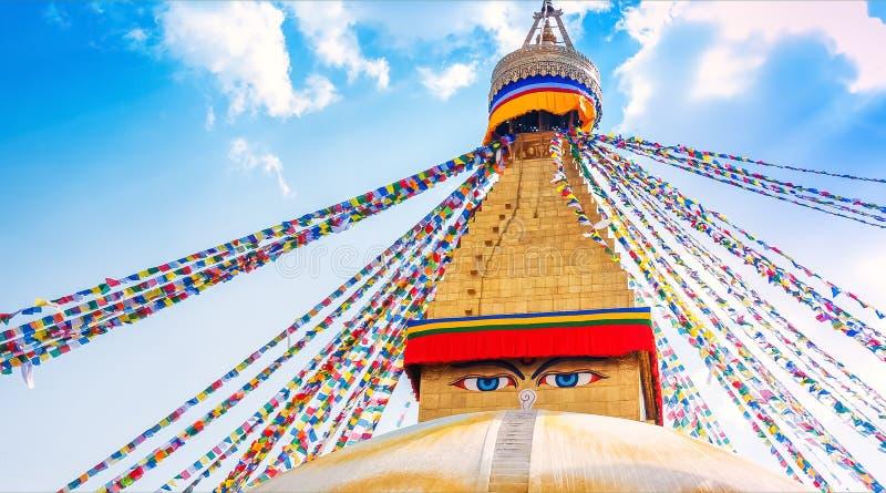 Boudhanath Stupa i Kathmandu Valley, Nepal royaltyfria foton