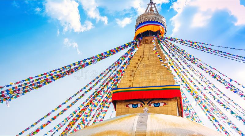 Boudhanath Stupa im Kathmandutal, Nepal lizenzfreie stockfotos