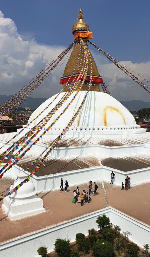 Boudhanath Stupa in Katmandu, de hoofdstad van Nepal royalty-vrije stock afbeelding