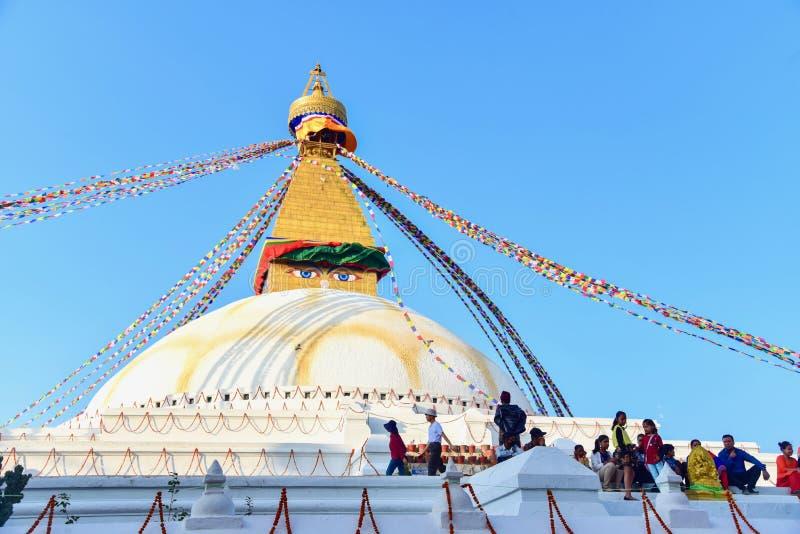 Boudhanath Stupa, a Sacred Buddhist Site in Kathmandu City royalty free stock photo