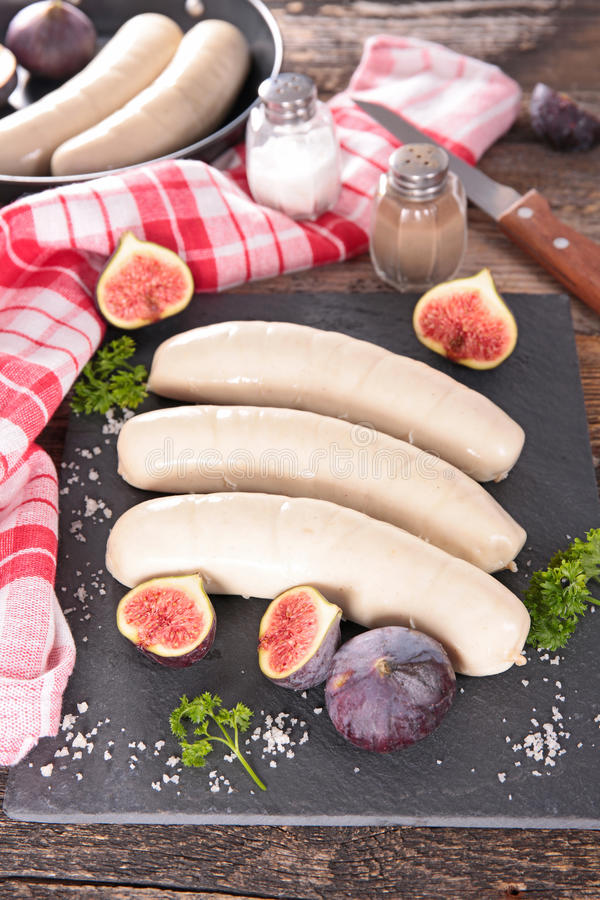 Boudon blanc. White pudding,boudin blanc and fig stock photography