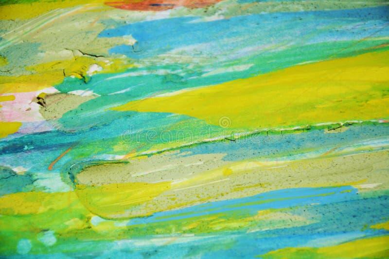 Boueux jaune vert éclabousse, des taches, fond créatif d'aquarelle de peinture image stock