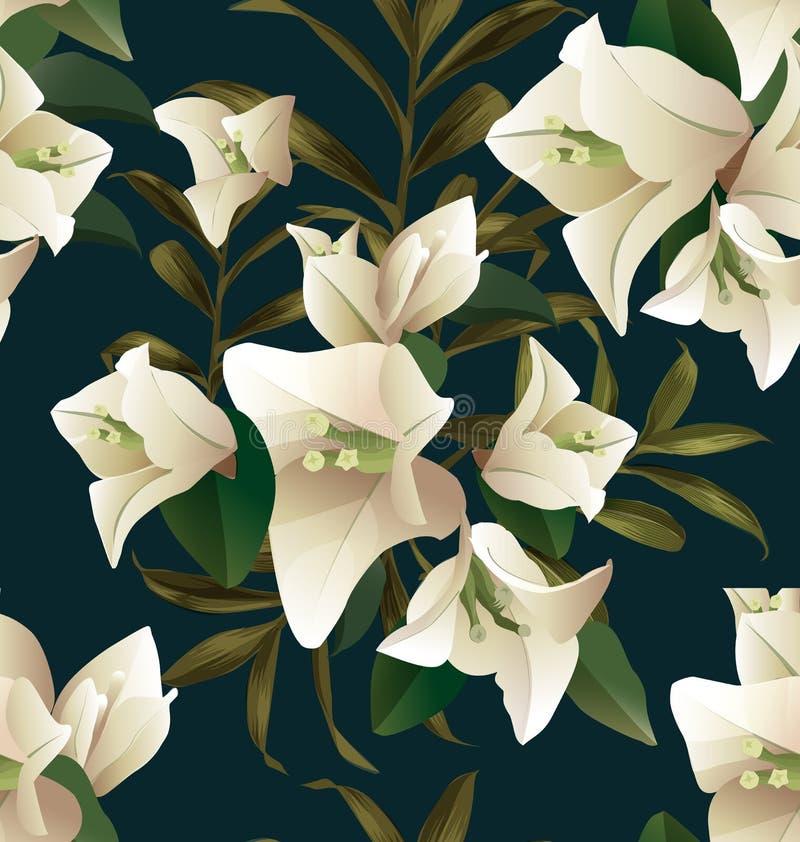 Bougainvillea naadloze pattern3 stock illustratie