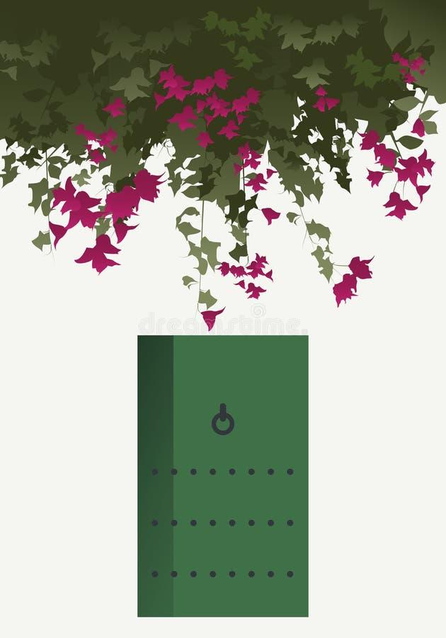 Bougainvilleabloemen en groene deur royalty-vrije illustratie