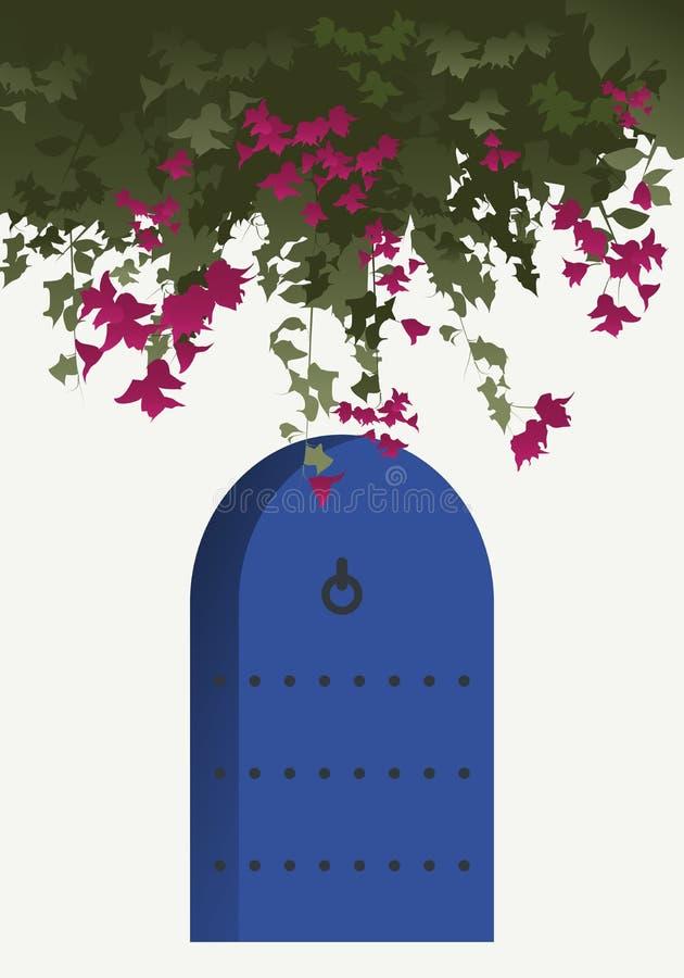 Bouganvillablumen und blaue Tür lizenzfreie abbildung