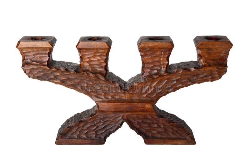 Bougeoirs Bougeoir en bois antique d'isolement sur un blanc photo stock