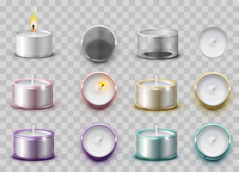 Bougie aromatique de cire moderne réglée dans le récipient rond en métal illustration libre de droits