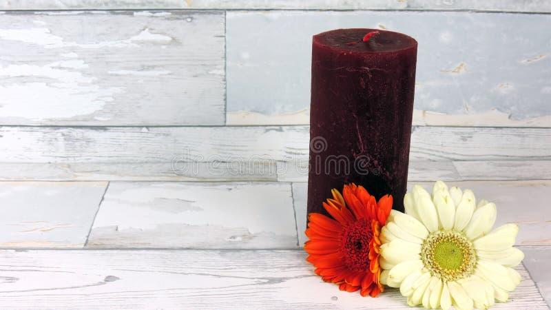 Bougie avec des fleurs images stock