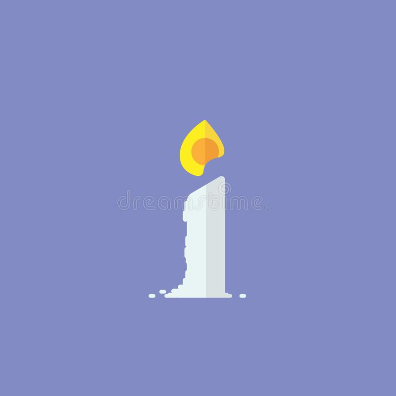 Bougie avec la conception simple de flamme illustration de vecteur