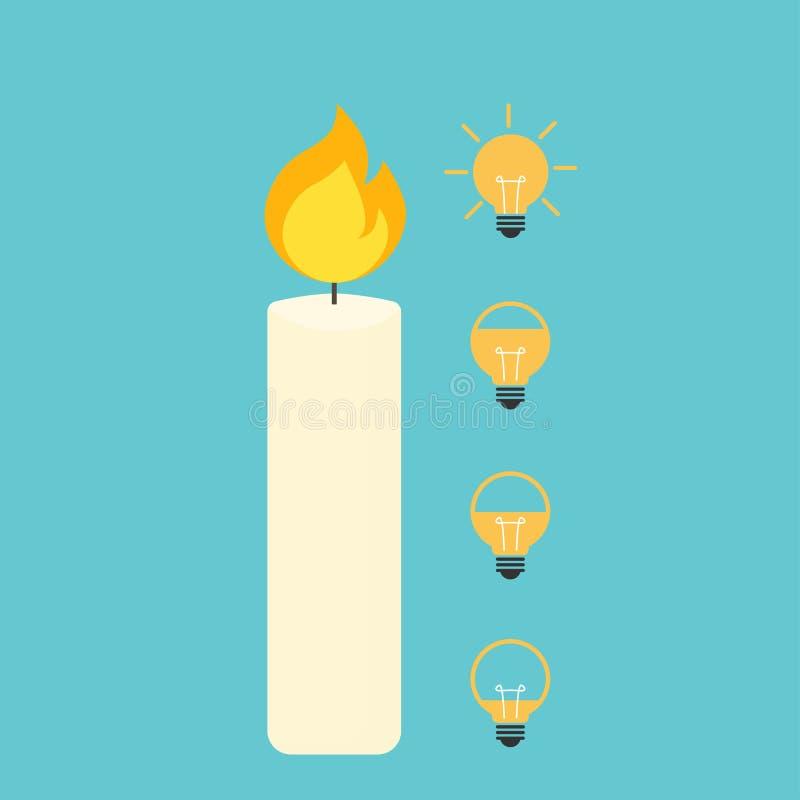 Bougie avec le style plat d'illustration de vecteur d'icône d'ampoule illustration libre de droits