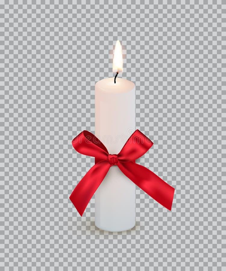 Bougie brûlante avec l'arc rouge d'isolement sur le fond transparent Élément de conception de vecteur illustration stock