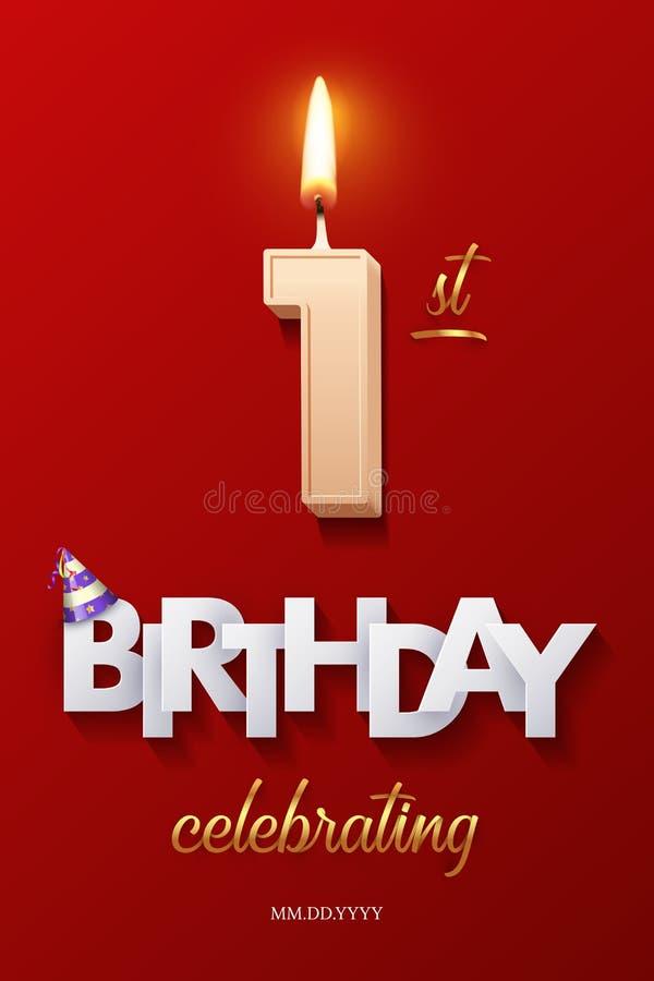 Bougie brûlante d'anniversaire sous forme de figure du numéro 1 et de joyeux anniversaire célébrant le texte avec la canne de par illustration libre de droits